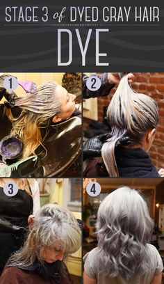 Time: 1 hour and 3 minutesCost: $200Once the hair is bleached and toned, the final step is the gray dye itself. After about 30 minutes of sitting on the hair, it's washed out.