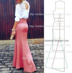 Long skirt pattern draft with rear train Diy Clothing, Sewing Clothes, Clothing Patterns, Dress Patterns, Diy Fashion, Ideias Fashion, Fashion Design, Dress Skirt, Dress Up