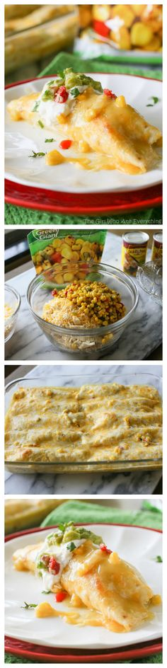 Sweet Corn and Chicken Enchiladas - only 5 ingredients in this tasty Mexican dinner. the-girl-who-ate-everything.com #GGReinventDinner