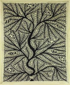 Energy courses through the #Tree of Life, venerated by the people of Mithila in this freehand Madhubani painting.