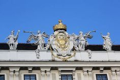 Architectural artistic decorations on Hofburg palace, Vienna; Hofburg was residence of Habsburg dynasty, rulers of Austro-Hungarian Empire. Vienna, Austria on October Classical Architecture, Architecture Details, Austro Hungarian, October 10, Vienna Austria, Greek Mythology, Palace, Empire, Decorations