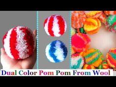 How to make yarn/wool multicolor pompom step by step at home-pom pom making Easy Yarn Crafts, Pom Pom Crafts, Diy Arts And Crafts, Craft Stick Crafts, Fabric Crafts, How To Make Garland, How To Make A Pom Pom, Woolen Flower, Pom Pom Animals