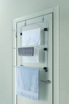 An over-the-door design and foldable racks means simple space-saving storage for this long-lasting drying rack that features plenty of room for hanging a variety of garments. Drying Rack Laundry, Laundry Dryer, Clothes Drying Racks, Laundry Storage, Uni Room, Shower Screen, Basement Bathroom, Home Organization, Space Saving