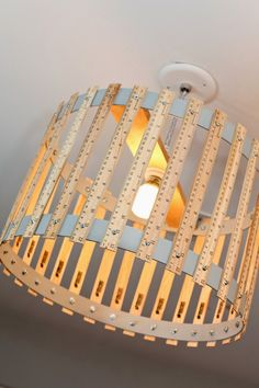 Ruler Drum Light Fixture Boys or Girls Room or Playroom, via Etsy. Drum Light Fixture, Lamp Light, Light Fixtures, Diy Light, Light Pendant, Diy Luz, Ruler Crafts, Painted Sticks, Playroom