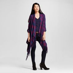 Women's Plaid Open Layering with Fringe Navy L - Knox Rose™ : Target