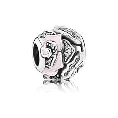 PANDORA | Rose silver charm with cubic zirconia and soft pink enamel