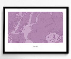 New York City Map Poster Art Monochromatic Color de FlatMates en Etsy
