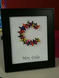Crayon DIY gift...im thinking it be even cuter for a teacher if you first painted the surface with chalkboard paint, then did their letter, and then their name and the date with chalk before closing up the frame!