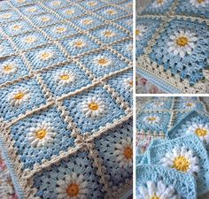 Daisy Flower Granny Square Baby Blanket Idea