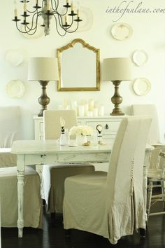 In the Fun Lane: Shabby chic dining room with white washed farmhouse dining table with turned legs, gray ...