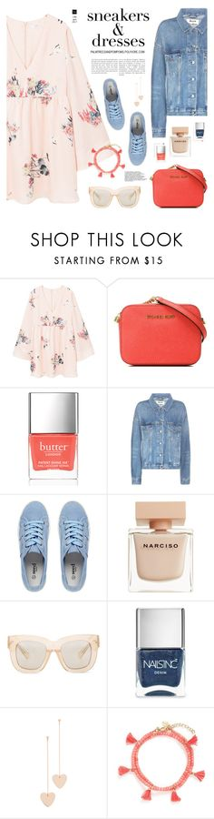 """""""Sporty Chic: Sneakers and Dresses"""" by palmtreesandpompoms ❤ liked on Polyvore featuring MANGO, MICHAEL Michael Kors, Butter London, Acne Studios, Narciso Rodriguez, Nails Inc., Cloverpost and Shashi"""