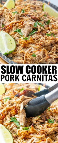 Spicy, tangy and delicious these Slow Cooker Pork Carnitas are a fix it and forget it recipe that feeds a crowd has a little heat and is completely addicting. via food for a crowd Slow Cooker Pork Carnitas - A Fun Flavorful Weeknight Meal Slow Cooker Desserts, Slow Cooker Recipes, Cooking Recipes, Pork Tenderloin Recipes, Roast Recipes, Healthy Crockpot Recipes, Pork Tenderloin Tacos, Slow Cooker Pork Tenderloin, Healthy Foods