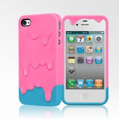 Cute Melt Case for iPhone 4/4S Pink and Blue