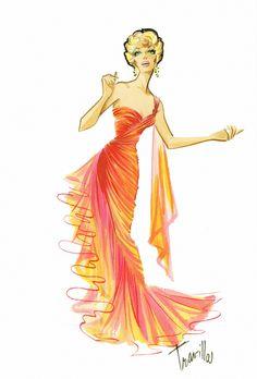Costume design sketch by Travilla for Marilyn Monroe in 'Gentlemen Prefer Blondes, 1953.