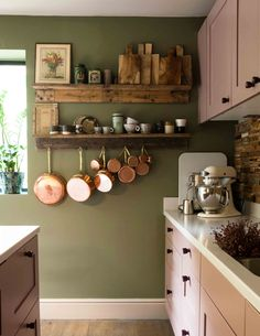 In England, a Homeowner Learns the Importance of Patience – .- In England, a Homeowner Learns the Importance of Patience – Design*Sponge In England, a Homeowner Learns the Importance of Patience – Design*Sponge - Kitchen Interior, New Kitchen, Kitchen Decor, Earthy Kitchen, Kitchen Ideas, Sage Kitchen, Kitchen Racks, Bohemian Kitchen, Kitchen Industrial