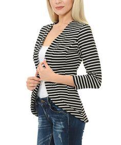 Loving this Black & White Stripe Hi-Low Blazer on #zulily! #zulilyfinds