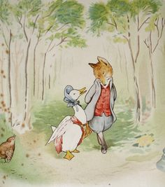 Beatrix Potter 1952 Illustration- The Tale of Jemima Puddle Duck, Goose and Fox. $10.00, via Etsy.