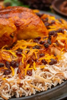 Reshteh Polo is a popular Persian rice dish with wholewheat noodles, caramelised onions ans sweet raisins. Enjoy it with chicken, meat, veggies or just on it's own. It's that good! Polo Recipe, Caramelised Onions, Persian Rice, Saffron Rice, Rice Dishes, Raisin, I Got This, Free Food, Noodles