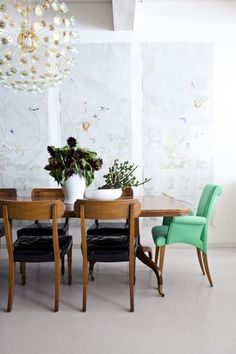 """Fear No More:  8 Baby Steps to Adding Color in Your Space: A dining set is a big investment and it's understandable that you would decide to go classic and neutral, but how about adding colorful end chairs for a pop of color? You know when you see a great chair in the clearance section and you think """"what a deal, but what am I suppose to do with just one or or two?"""". Well, this is the perfect solution."""
