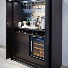 20 Modern and Functional Kitchen Bar Designs - Sweet Home Modern Kitchen Cabinets, Wine Cabinets, Kitchen Cabinet Design, Home Bar Cabinet, Drinks Cabinet, Modern Home Bar, Modern Kitchen Design, Drink Bar, Bar Drinks