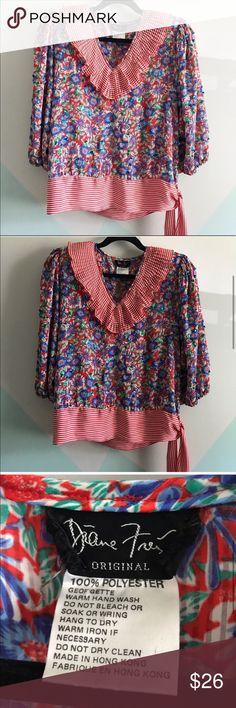 Spotted while shopping on Poshmark: Diane Freis Georgette poet  mixed pattern top! #poshmark #fashion #shopping #style #diane freis #Tops