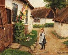 Girl Playing with her Dog ~ Hans Andersen Brendekilde ~ (Danish: 1857-1942)