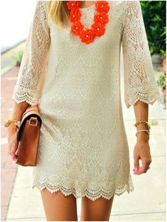 Like exactly like this, maybe just a little more flowy at the bottom.  Little White Lace Sleeve Dress