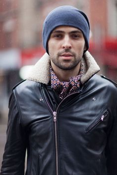 Street Style: Shearling, Leather, and Silk Mihai Botarel Sandro Shades of Grey Diesel The Scorch Trials, Leather Men, Leather Jackets, New Politics, Sandro, Shades Of Grey, Beautiful Men, Nice Dresses, Street Style