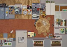 """Ann Toebbe, The Ex-Wife's Pies and Things, 2010. cut paper, gouache and acrylic paint, and glue on paper inches, 39"""" x 42"""""""