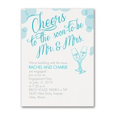 Bubbly Cheers - Engagement Party Invitation Item Number You're bubbling with the news of your engagement. Now share the news of your engagement party with this whimsical invitation in your choice of colors. Engagement Party Themes, Engagement Party Invitations, Wedding Engagement, Pre Wedding Party, Bridal Shower Party, Wedding Ideas, Engagement Annoucement, Cheers, Whimsical