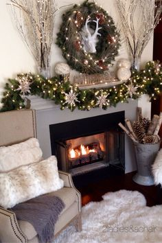 We love shopping at HomeGoods and finding just the right decor for our mantel. This deer head and silver branches were just the look we wanted above the Christmas mantel this year! Sponsored by HomeGoods