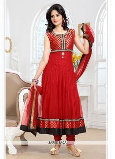 Latest Red Embroidered Net Party Wear Anarkali Suit