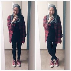 oot. casul hijab outfit Jack Wolfskin plaid Flanel oversized Shirt, Converse Sneakers - More Plaid Outfit  Syaifiena W lookbook.nu/syaifiena