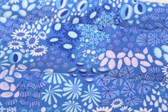 Flower Carpet in Blue  Midnight Meadow Colorway  by FabricCadabra