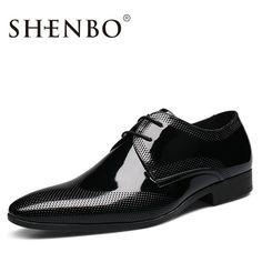 3950345c7 SHENBO Marrom Marca Os Homens Se Vestem Sapatos, Moda de alta Qualidade  Oxford, Oxford Sapatos Para Homens