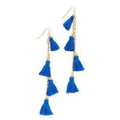 Vanessa Mooney The Dynasty Earrings (£35) ❤ liked on Polyvore featuring jewelry, earrings, accessories, blue, gold plated jewelry, multicolor earrings, gold plated jewellery, gold plated earrings and blue earrings