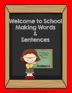 "This is a fun activity for the beginning of school for Grades 1-3. Students will make 2,3,4, and 5 letter words from ""Welcome to School"" and then write sentences using those words."