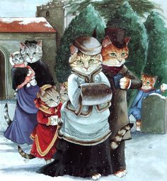 Victorian Cats, Susan Herbert,  Antique / Vintage Art Prints, Cat Family,  Print 27. $9.50, via Etsy.