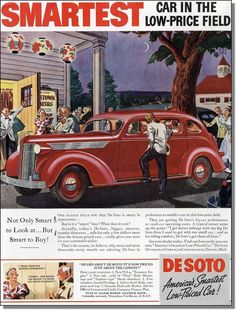 1937 De Soto cars smart in appearance, night on the town vintage print-ad