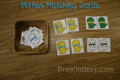 Mitten Matching Cards, Mitten Theme for Preschoolers