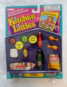 Kitchen-Littles-Tyco-1995-PICNIC-food-pack-MIB-wonderbread-lays-mtn-dew-Barbie