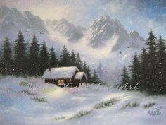 Snowy Hideaway Art Print snow mountains cabin by VickieWadeFineArt