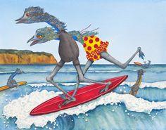 Surfing Clifton Beach, Tasmania painted by Pj