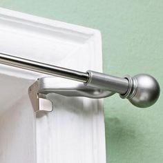 """Twist and Fit Decorative Curtain Rod, Satin Nickel, 7/16"""" rod diameter"""