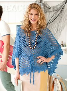 All the starlets are wearing one: the peekaboo crocheted caftan is a shore bet this season. Ours is worked identically on both sides.
