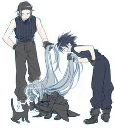 Angeal, Zack, Sephiroth & a kitty