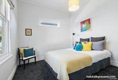 A spare bedroom is given a cool backdrop in Resene Rakaia, perfect for showcasing prized Dick Frizzell art and lending itself nicely to pops of bright colour. Bedroom Paint, Wall Trim, Bedroom Paint Colors, Spare Bedroom, Master Bedroom Paint, Colorful Interiors, Cool Backdrops, Resene Colours, Master Bedroom Colors