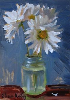 """Daisies on Blue"" - Original Fine Art for Sale - © Elena Katsyura"