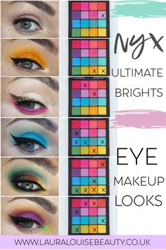 NYX Ultimate Brights eyeshadow palette makeup looks. Neon eye makeup / bright eye makeup ideas The post Current Beauty Favourites Chat. appeared first on Nagel Art. Nyx Eyeshadow Palette, Nyx Palette, Bright Eyeshadow, Bright Eye Makeup, Colorful Eye Makeup, Makeup For Green Eyes, Eyeshadow Looks, Eyeshadow Makeup, Eyeliner