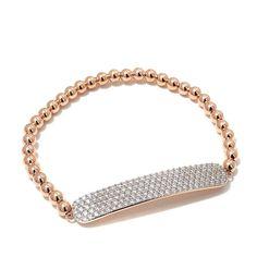 Jewels by Jen 3.22ctw CZ Pavé Beaded ID Stretch Bracelet - Pink
